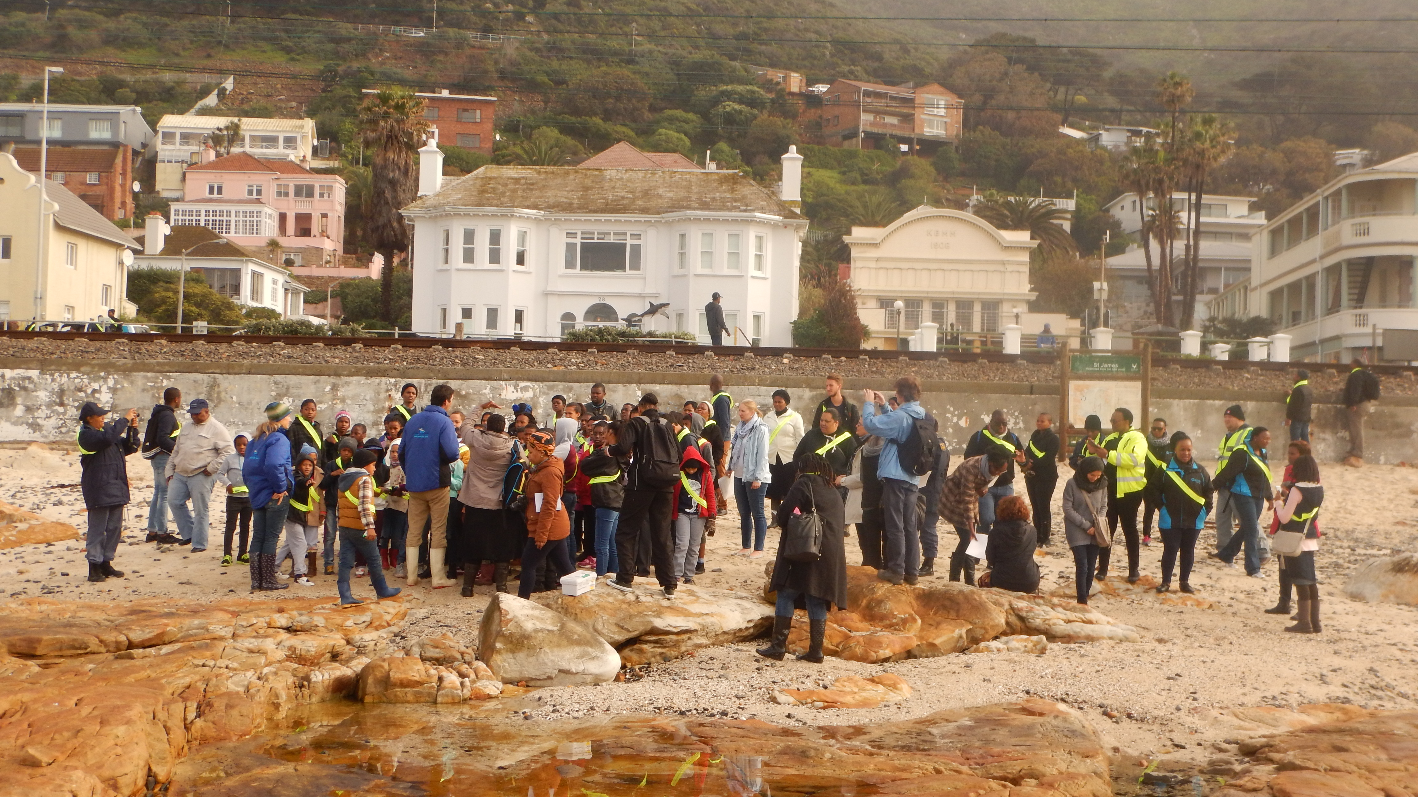 The group hit the beach to explore rock pools