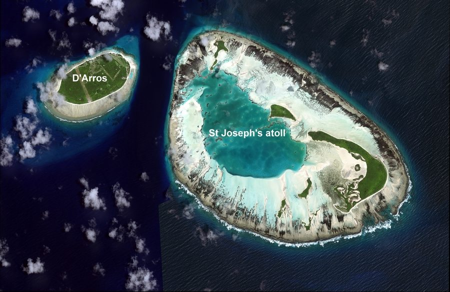 Aerial view of St Joseph Atoll.
