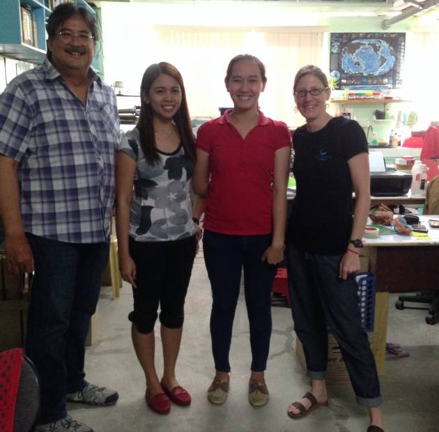 Our intrepid fisheries survey team in Antique. Shannon, Manta Trust Philippines Project leader (right), Dr Willy Campos (Left), Alex (right centre), Mels (left centre)