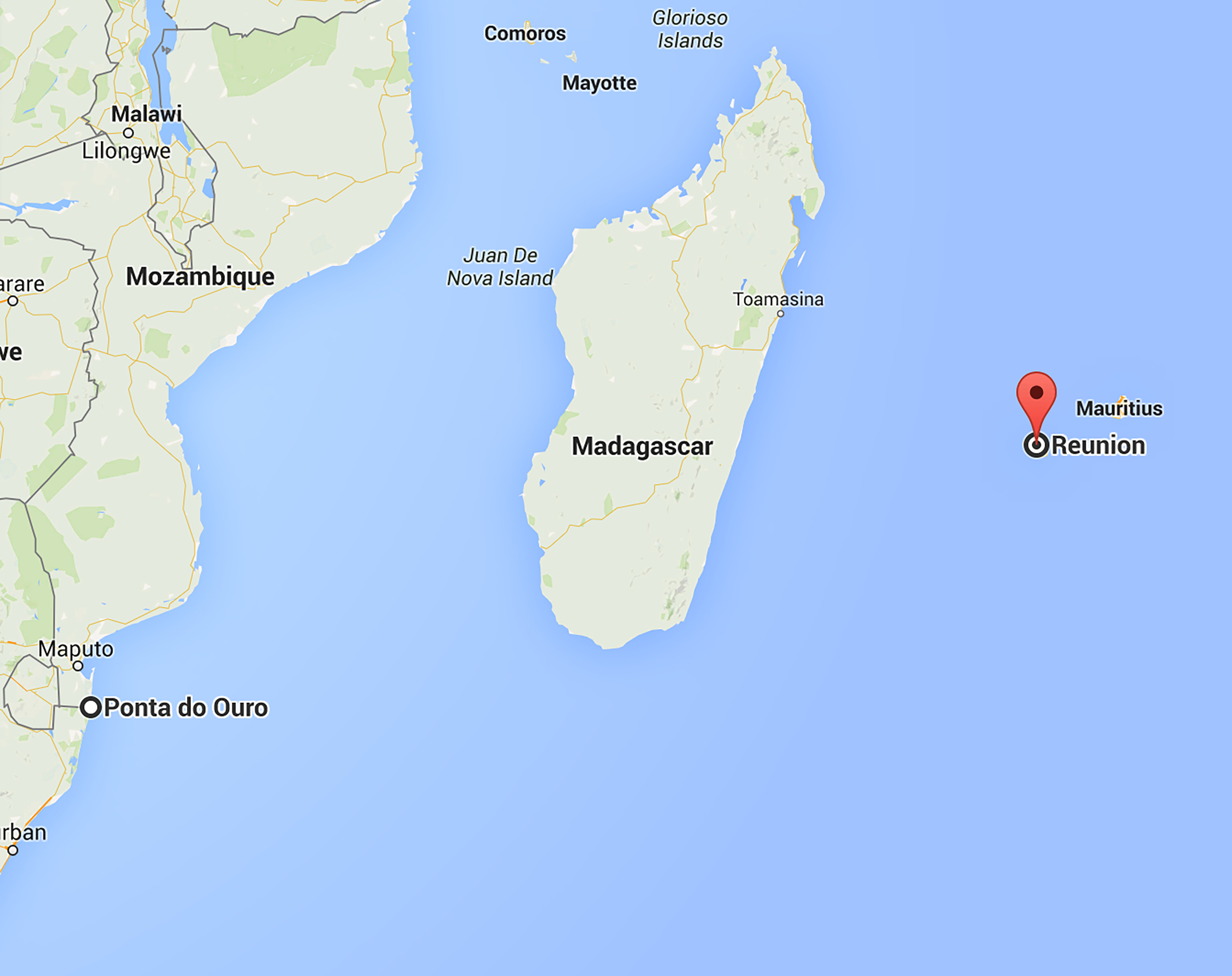 Map Of Reunion Island In The Indian Ocean
