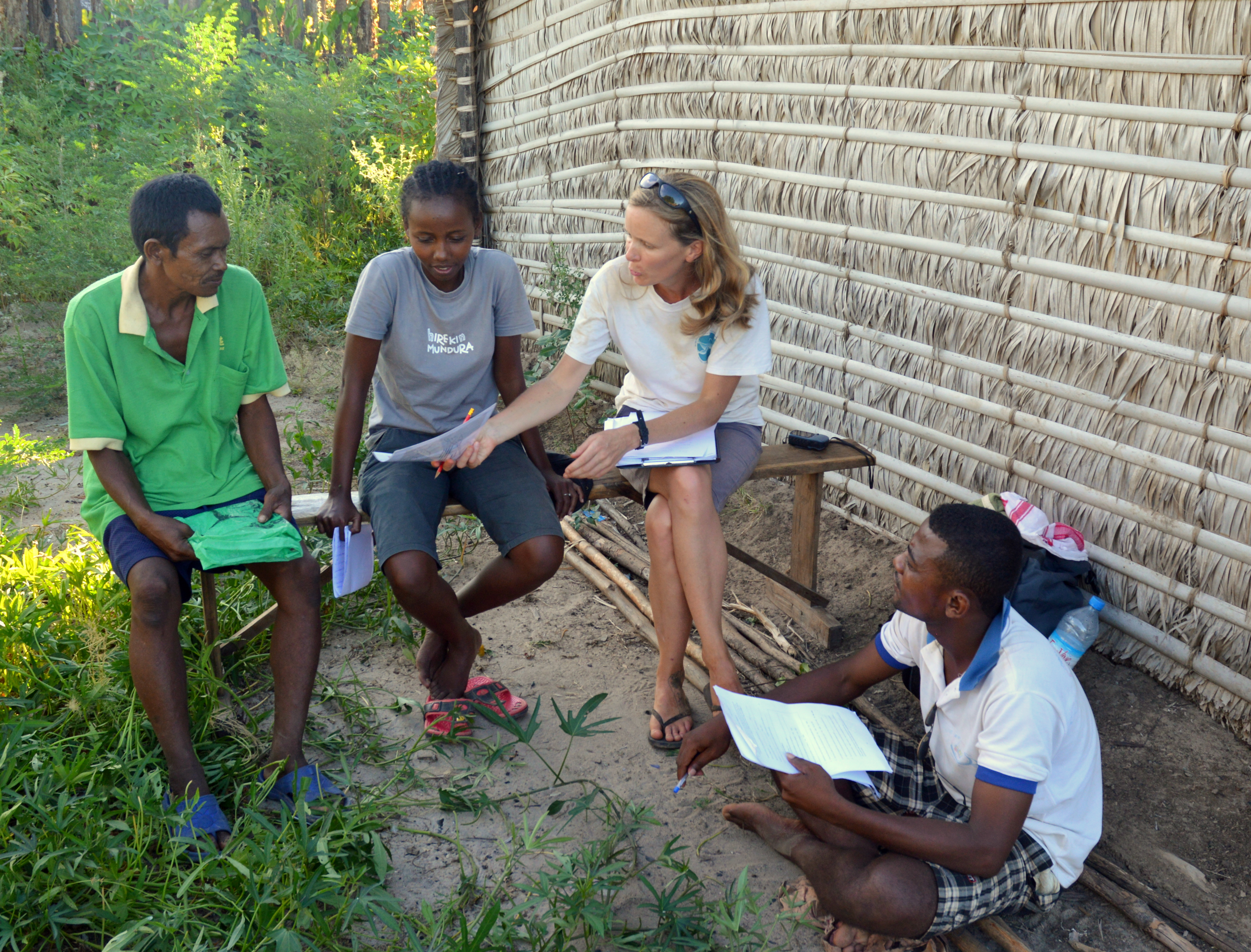 Interviewing a fisherman in the village of Ankelimitomitra, on Lac Kinkony, with help from conservation agents Sandra and Jaques of Asity Madagascar.