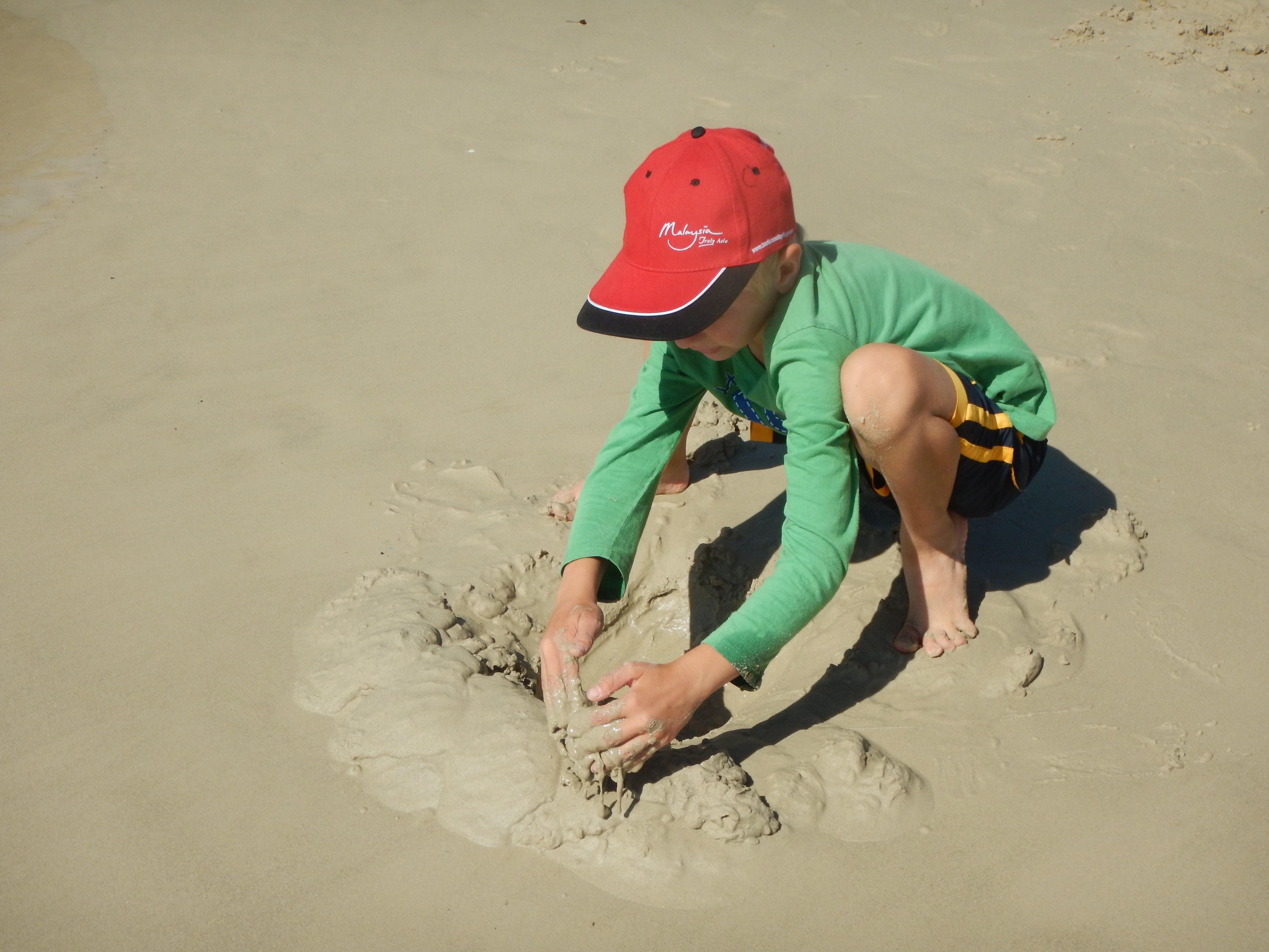 People of all ages are basking in the sun, making sand castles or mimicking whales' breaching behaviour in the water.