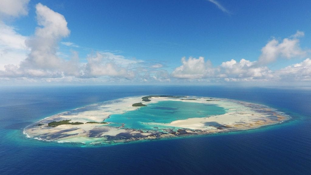 An aerial image gives the best view of St Joseph Atoll's completely enclosed lagoon ecosystem. The atoll provides critical habitat for juvenile sea creatures and nesting seabirds.