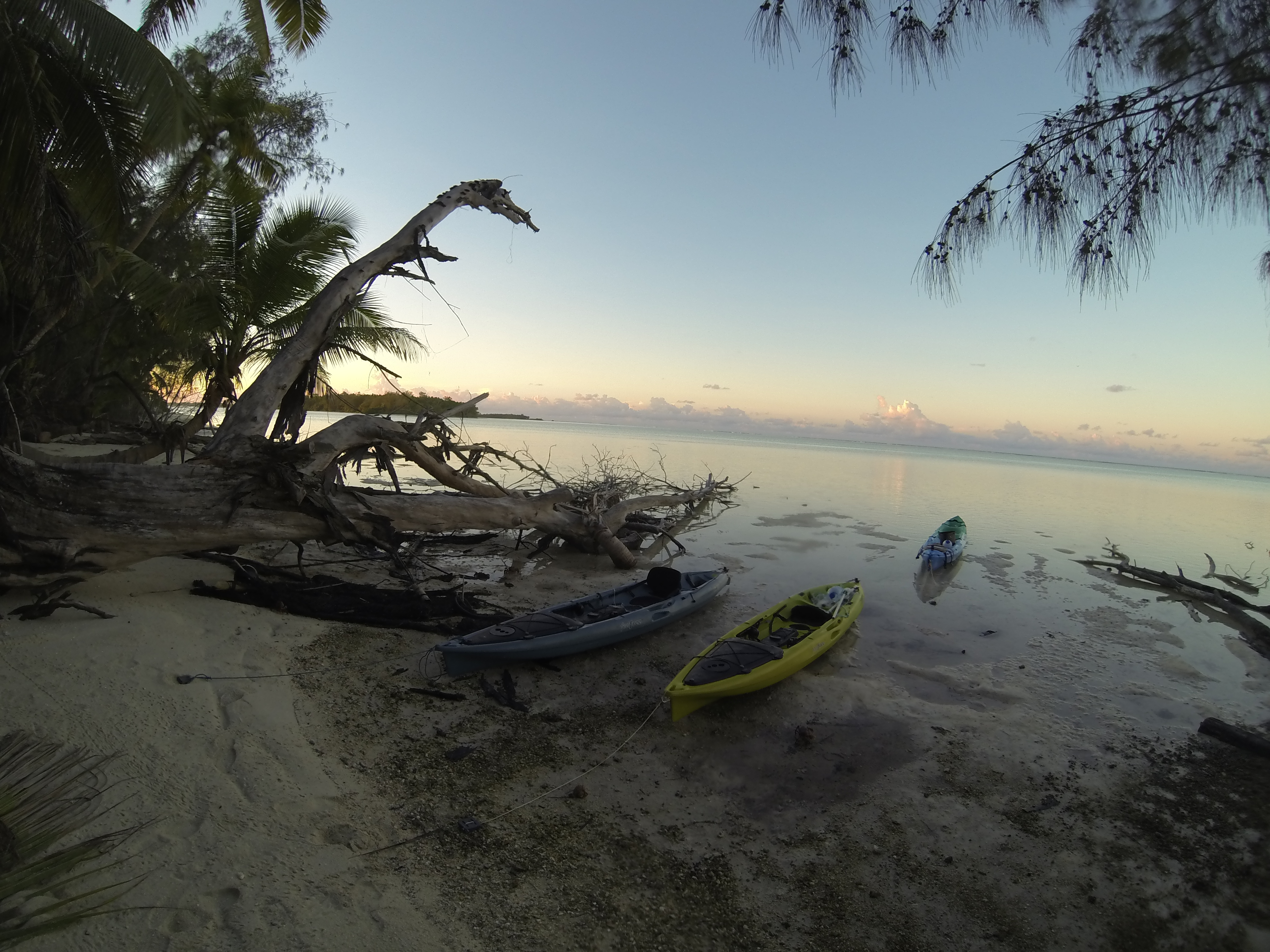 Sunset view from the St Joseph camp, with our three field work kayaks in the foreground. Photo by Ornella Weideli