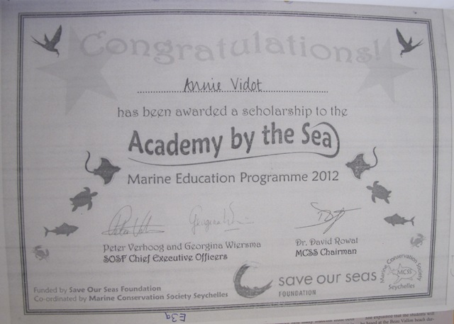 Annie proudly displayed her Academy certificate