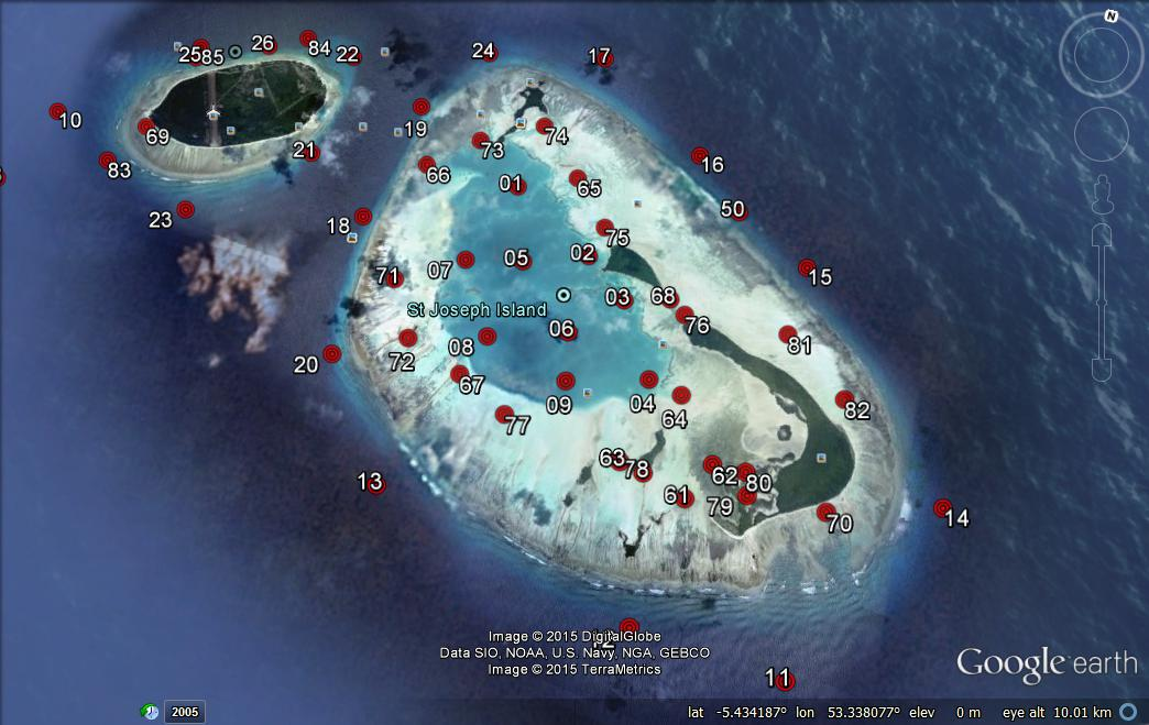 A map of the receiver locations in and around St Joseph Atoll, our version of 'Big Brother'.