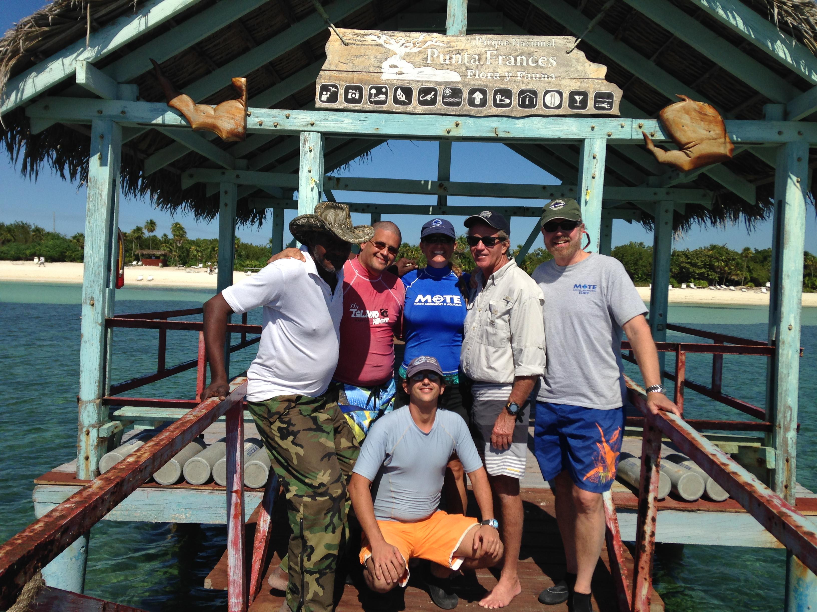 Mote and CIM staff taking a shore break at Punta Frances, Isla de la Juventud, Cuba. Photo credit: Kim Bassos-Hull – Mote Marine Lab
