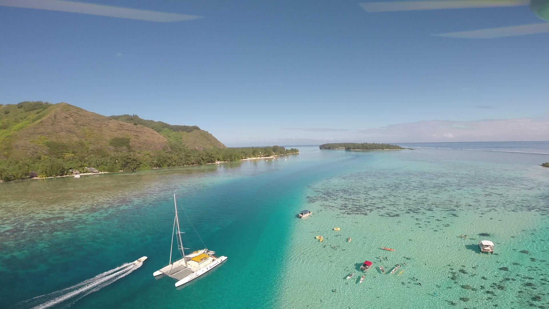 An aerial view of Moorea's lagoon taken by the drone.