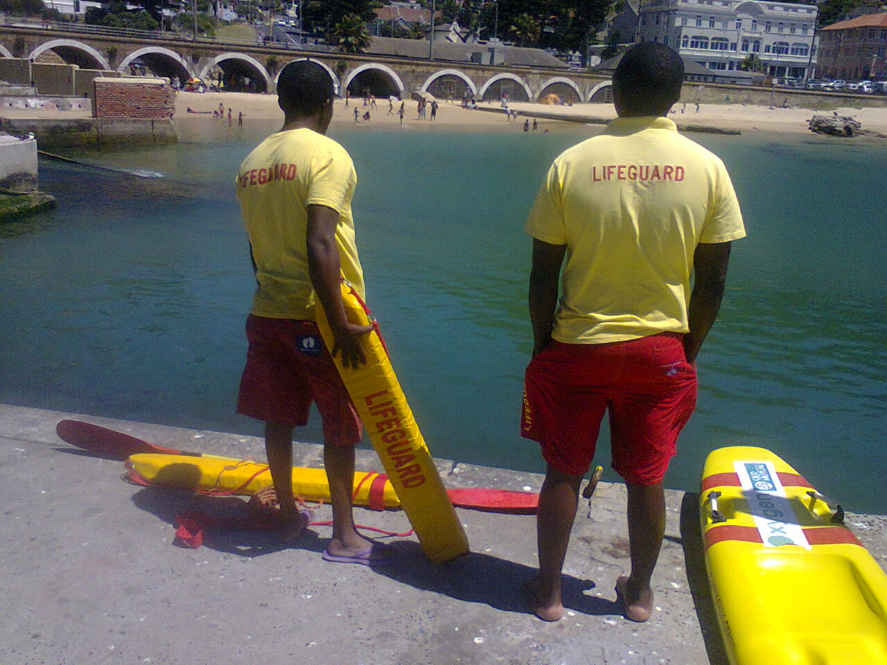Lifeguards were on duty at Kalk Bay beach over the peak holiday period where thousands of families enjoyed the calm, warm waters. (c) SharkSpotters