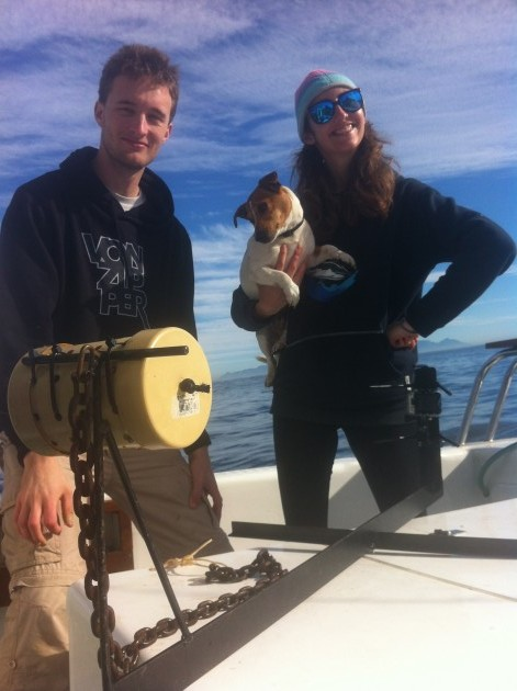 Ralph, myself and Mojo the seafaring Jack Russel take a quick breather between samples