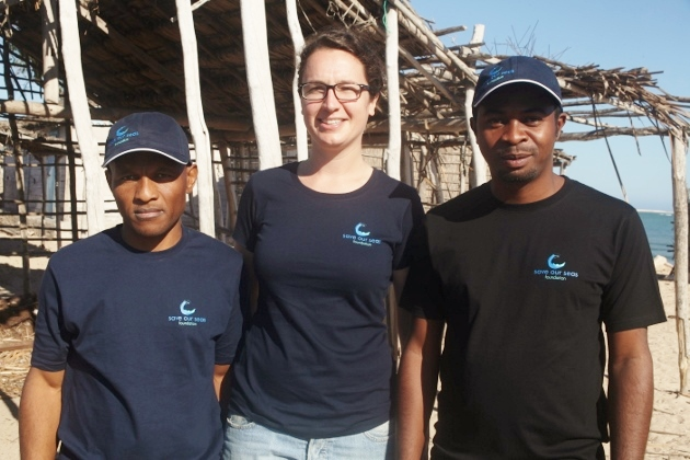 The shark project team in SW Madagascar, Silvere, Fran and Rado, finally posing for a photo together!