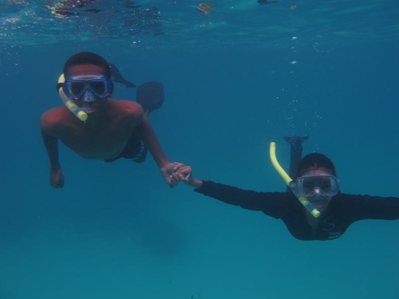 Jean-Luke and Mickela snorkelling in the marine park