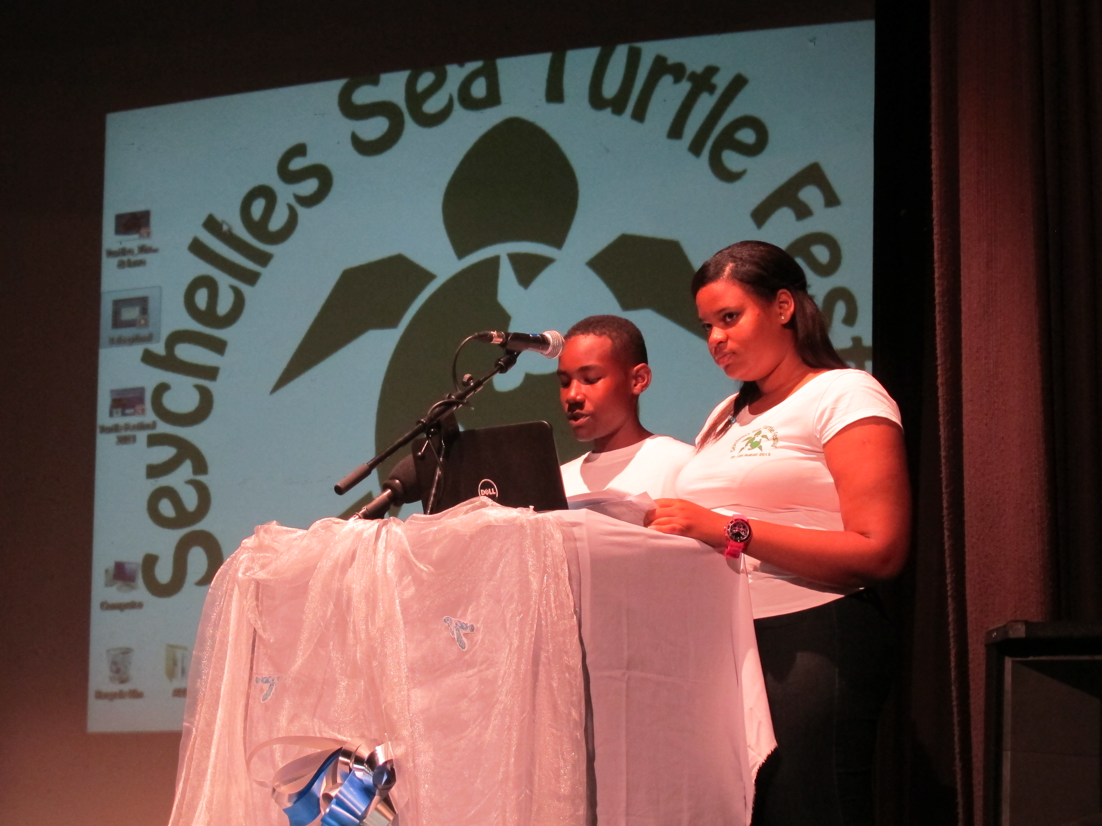 MCs Joshua Sofola and Anthea Laurence at the Seychelles Sea Turtle Festival Opening Ceremony. Photo: Abi March