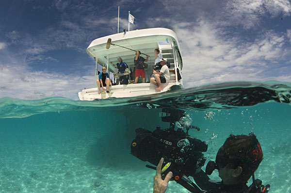 Save Our Seas support project leader Guy Stevens takes a picture of a manta ray for photo identification purposes
