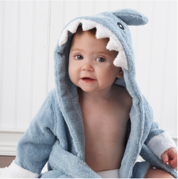 """Let the Fin Begin"" Terry shark robe. <a href="