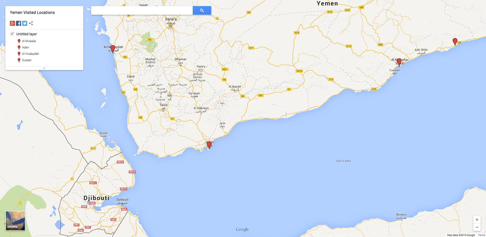 A map of the locations visited in Yemen. © Google Maps