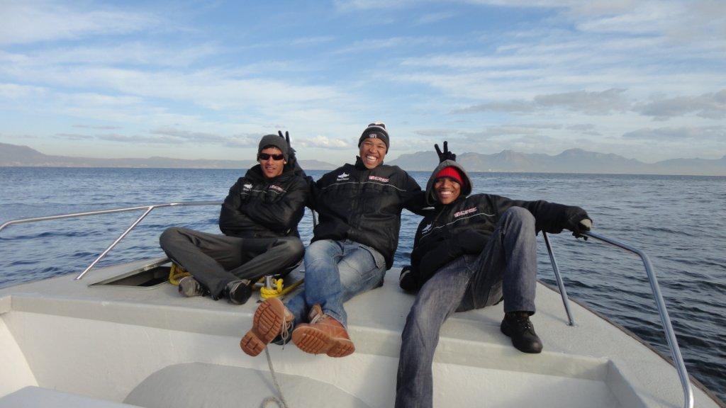 Spotters Ashley, Tino and Donovan enjoying a day out at sea.
