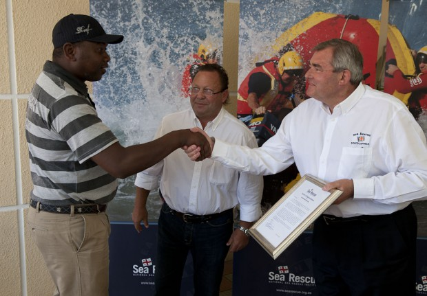 Monwa receiving commendation from NSRI