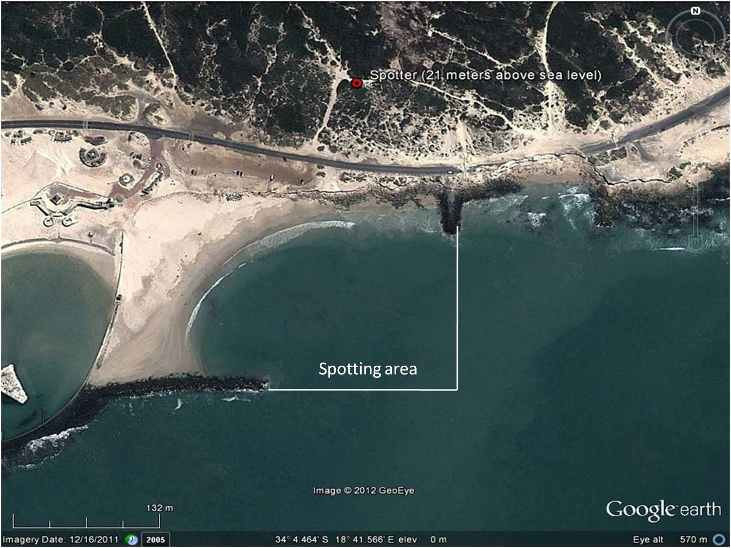 Spotting area at Monwabisi Beach
