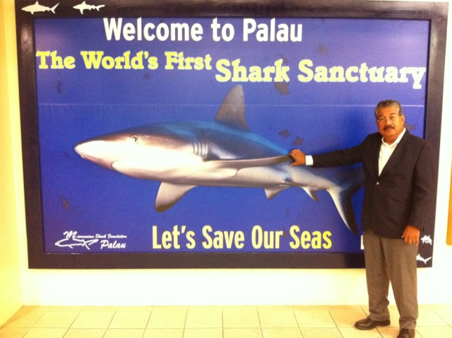 President Toribiong and the Shark Display